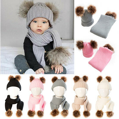 2Pcs Cute Baby Toddler Girls Boys Beanie Winter Warm Hat Crochet Knit Cap Scarf