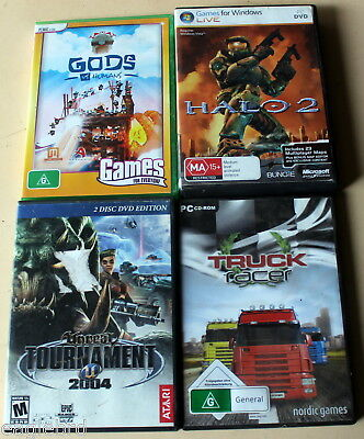 Massive Bulk Lot Of 4 Mixed Assorted Pc Cd-Rom Games Halo 2, Unreal Tournament +