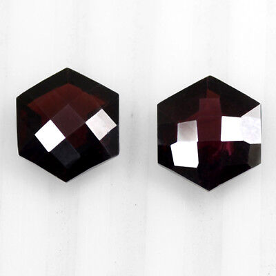 Natural Pyrope Pink Red Garnet Checkered Fancy Cut Pair Mozambique 9.5 Cts 10 mm