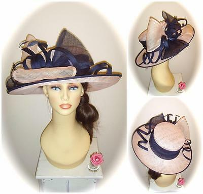 Mother of Bride Ascot Occasion Wedding Condici 7210N Hat, 17.5 inch, Pink Puff