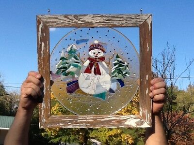 Snowman Stained Glass Window Art Sun catcher Barn Wood Frame
