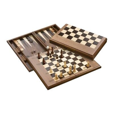 Exclusive chess-backgammon-draughts-set - with Magnetic Clasp
