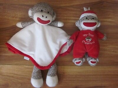 "Baby Starters 9"" Sock Monkey My First Christmas Plush Toy Rattle + Lovey Monkey"