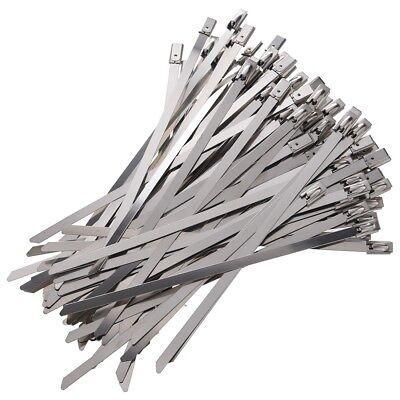 100pcs 5.9 Inches Stainless Steel Exhaust Wrap Coated Locking Cable Zip Tie U6T3