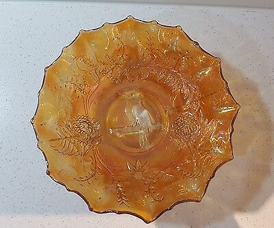 ORANGE IRRIDESCENT AUSTRALIAN MARIGOLD CARNIVAL GLASS BOWL with KOOKABURRA
