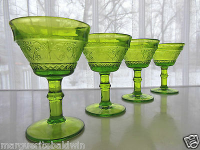 Duncan & Miller Indiana Glass 4 Green Sandwich 6 ounce Tall Champagne Sherbets