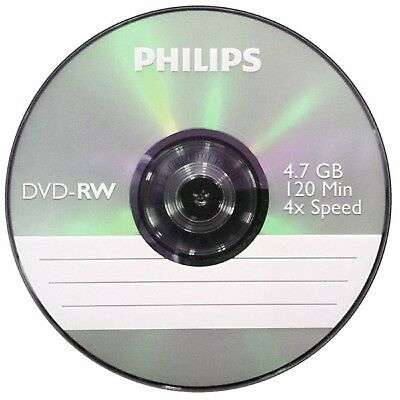 Philips DVD-RW 120 Mins 4.7GB 4x Speed Recordable Blank Discs - 2 Pack Spindle