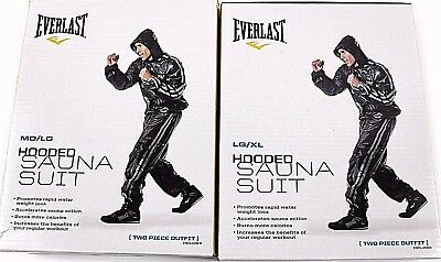 Everlast Black Super Sweat Hooded Sauna Suit Fitness Training Boxing Gym 2 Sizes