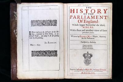 Thomas May History of the Parliament of England 1647 First Ed Interregnum FPOBO