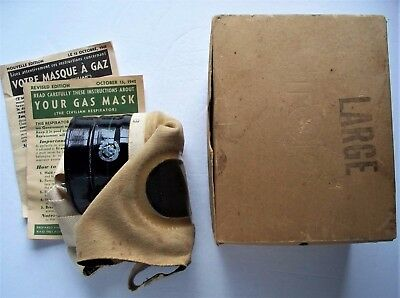 WWII 1942 Canadian Army Gas Mask in Original Box / Large Size