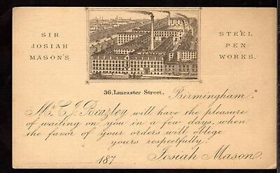 Postal Stationery ~ SIR JOSIAH MASON'S STEEL PEN WORKS in BIRMINGHAM ~ 1870s