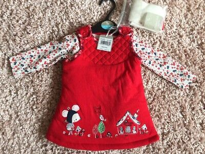 Gorgeous Baby Girls Dungaree Vest Tight Set 0-3 Thick Cosy TU BNWT next Winter