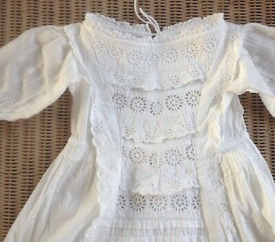 Antique White Broderie Anglais Lace Christening Gown