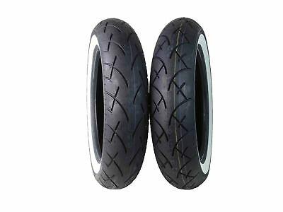 Full Bore 130/90-16 Front 130/90-16 Rear Set White Wall Cruiser Motorcycle Tires