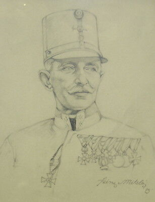 WWI AUSTRIAN Trench Art Drawing AUSTRO-HUNGARIAN GENERAL by SZINER MIKLOS 1918