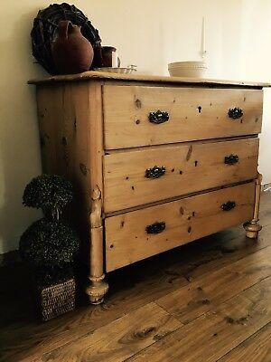 Antique Vintage Victorian Pine Chest Of Drawers Shabby Chic💐