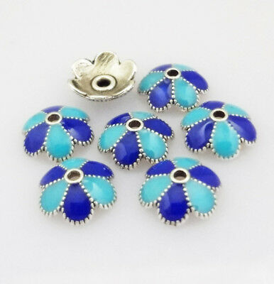 NEW 4pcs Alloy Blue Flower Beads End Caps Drip Jewelry DIY 9X3mm