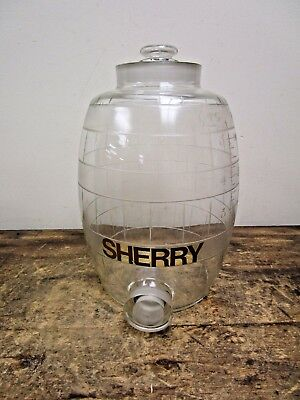 """Antique """"sherry"""" Bar Etched Glass Wine Dispenser"""