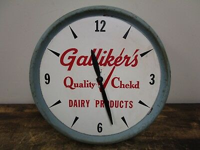 Vintage Galliker'S Milk Dairy Ice Cream Metal Clock Sign Works!!! Johnstown, Pa