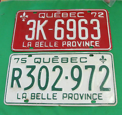 1972 1975 Licence plate Quebec Canada very fine condition