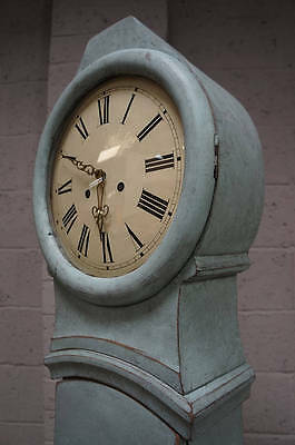 A mid 19th century blue painted Swedish Mora clock, fully restored case