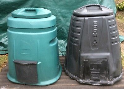 2 x used garden waste plastic compost bins ecomax & airflow system