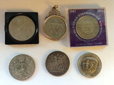 British English Crowns & 5 shilings coin 1891 1953 1972 1977 1981 Silver pendant