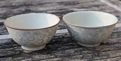 Fine Pair Of Antique Chinese Cargo Ware Rice Bowls Signed