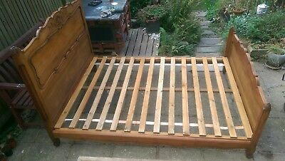 Antique French double bed or large single hand carved cherry wood stunning