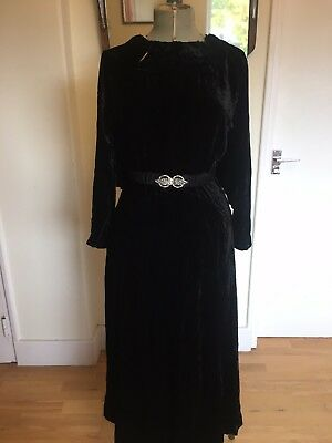 Original 1930s 30's Black Silk Velvet Evening Backless Gown Dress Art Deco