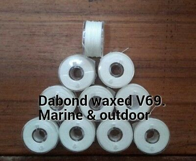 V-69 White polyester waxed thread Dabond,UV resistant,sails,canvas,kites.
