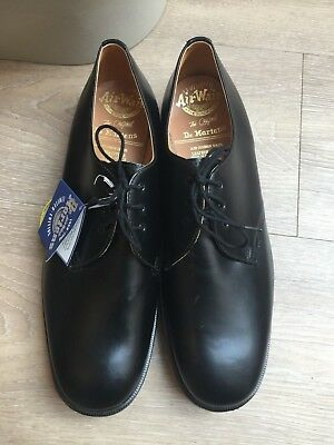Mens New Black Leather Dr Martens Made In England Shoes, Size 11.5