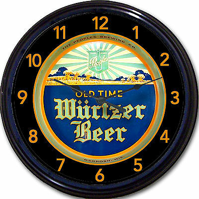 Wurtzer Oshkosh WI Beer Tray Wall Clock Peoples Brewing Co Ale Lager Man Cave