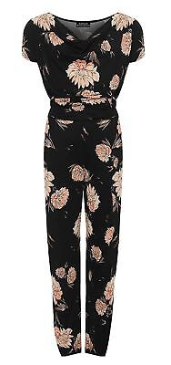 Ladies Short Sleeve Flower Print Tied Belted Cowl Neck Jumpsuit Womens Playsuit