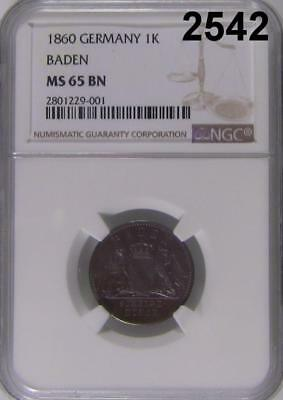 1860 Ngc Certified Ms 65 Bn Germany 1K Baden Scarce Date & Flashy Luster! #2542