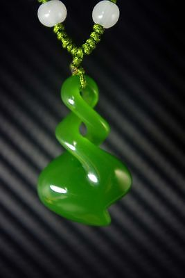 Chinese Natural bright green jade nephrite hand-carved spiral jade pendant