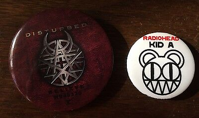 RARE Set Of 2 Buttons Disturbed Radiohead US Promo Buttons Heavy Metal Indie Roc