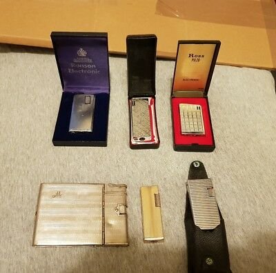 A Selection of Vintage & Antique Lighters Various Makes Some Original Cases
