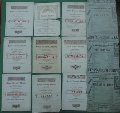 8 Edwardian Royal Lyceum Theatre Programmes Henry Irving