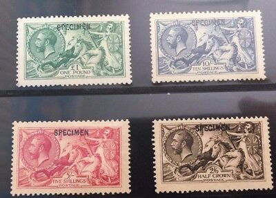 Great Britain Stamps 1913 Kgv Seahorses Specimen Set Without Gum S.g. 6000 Pound