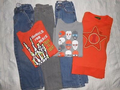 Boys LOT 5 5t Fall Halloween Winter Set Outfits OILILY SweatShirt Jeans & Tops