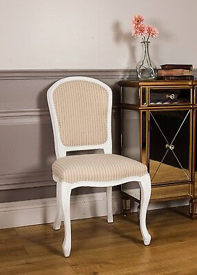 French Shabby Chic Side Chair Stripe Antique Farmhouse Style Bedroom Dining