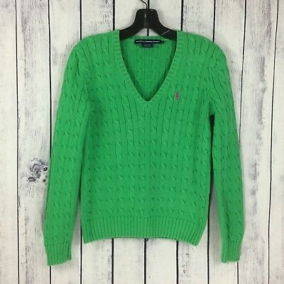 Ralph Lauren Sport Womens Size L Vintage Polo Green Cable Knit Sweater Pink Logo