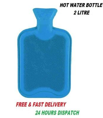 2L Liter Blue Large Hot Water Natural Rubber Bottle Warmer New