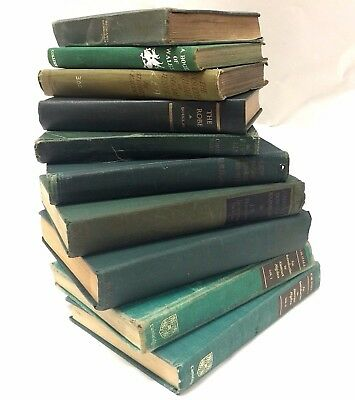Joblot Green Old Decorative Spine Shabby Chic Hardback Books Props Wedding