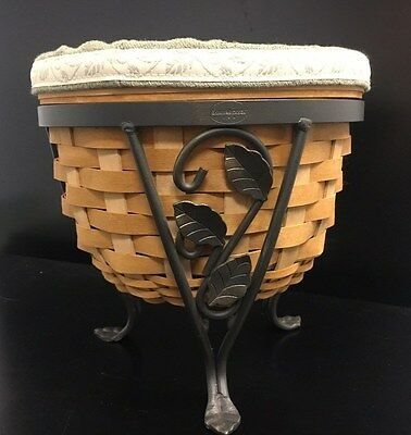 Longaberger 2004 Flora Basket with Wrought Iron Plant stand and protectors