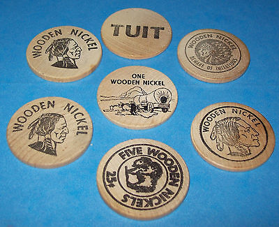 Advertising 7-Exonumia Wooden Nickels/Tuits-Money-'50-60-Vintage USA Coin Tokens