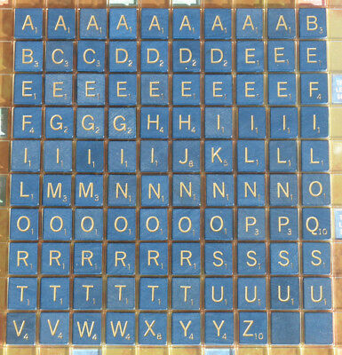 Blue Scrabble Tiles GOLD Letters 50th Anniversary Replacement Parts  $2.15-$2.75