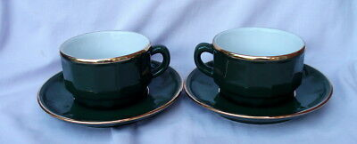 2 Apilco French Bistro Green & Gold Cups & Saucers - pristine