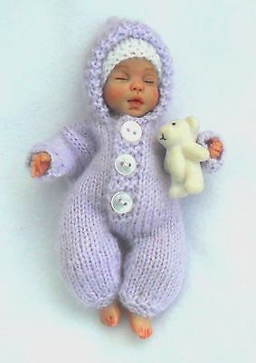 Knitted All-In-One With A Hood For A 5 Inch Ooak Baby